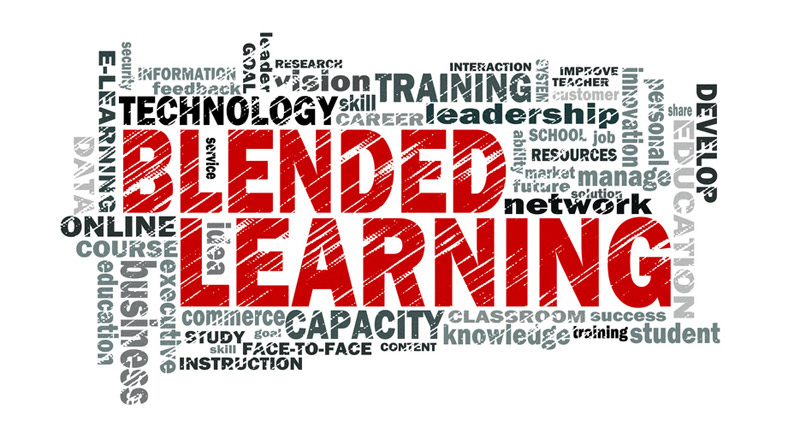 Grafik: Wortwolke mit Begriffen zum Thema Blended Learning