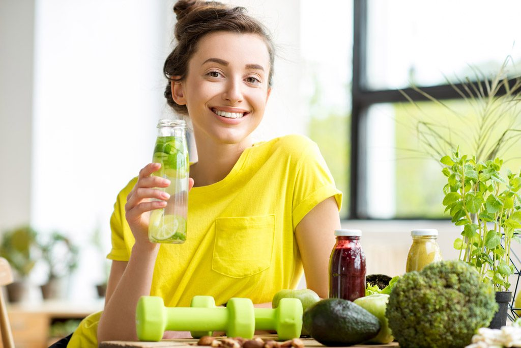Photo: Young woman with healthy food
