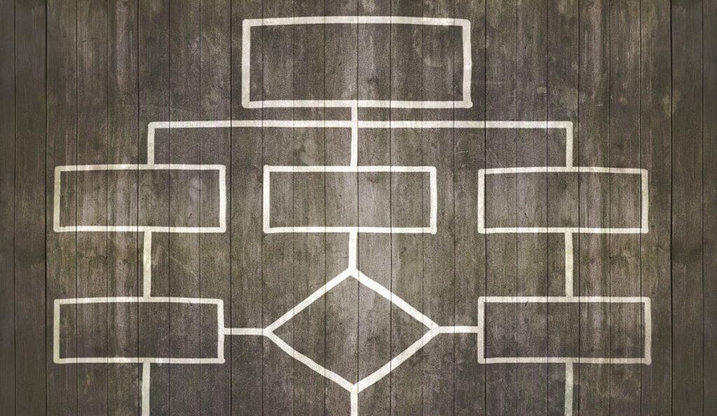 Foto gezeichneter Plan auf Holzboden
