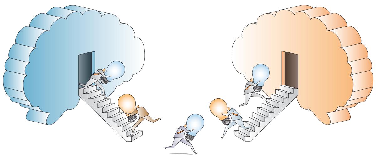 Grafik: Männchen tragen Glühbirnen von einem Hirn zm andern