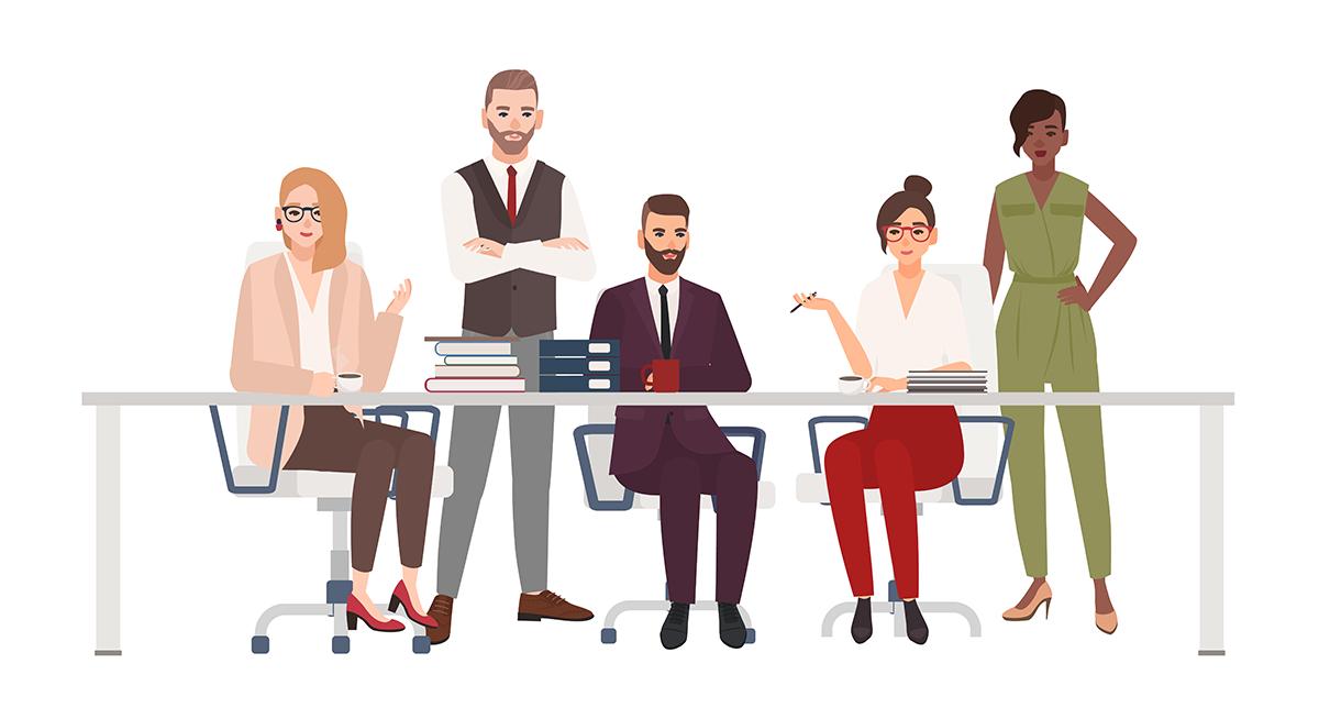 Illustration: Frauen und Männer im Büro